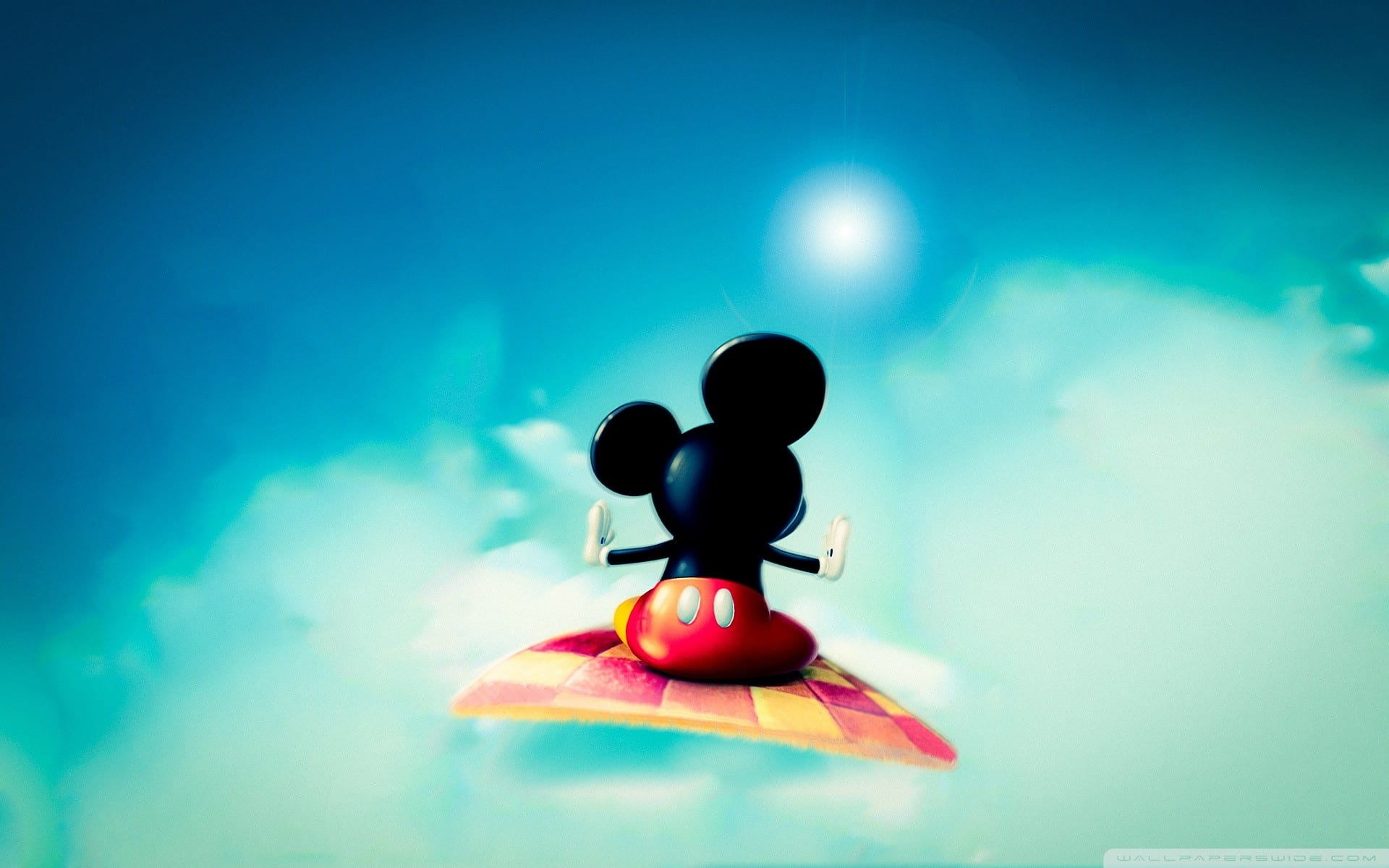 Mickey Mouse on Flying Carpet Wallpaper