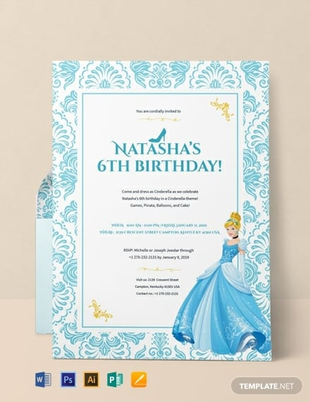 Cinderella Princess Birthday Invitation Template