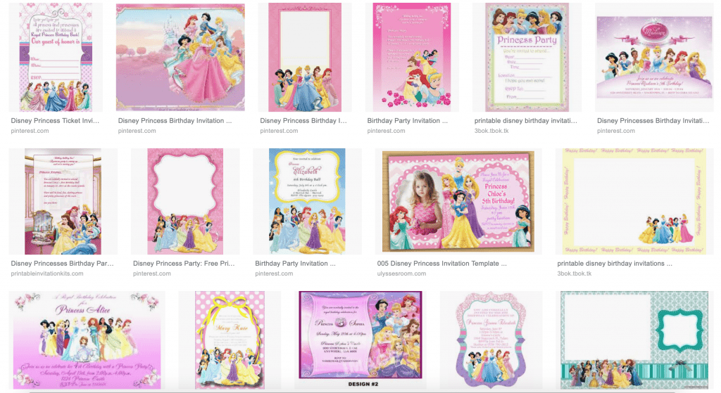 FREE Disney Princess Birthday Invitations on Google Images
