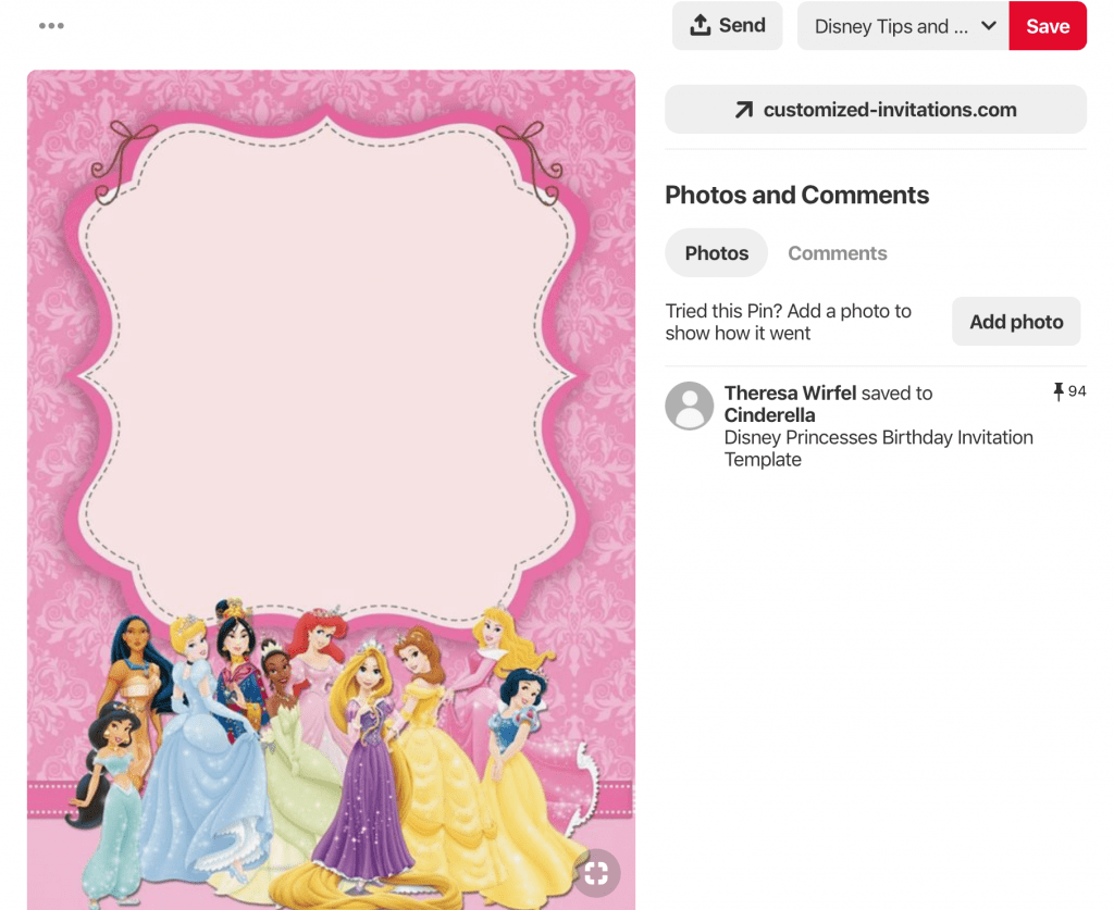 FREE Disney Princess Birthday Invitations on Pinterest