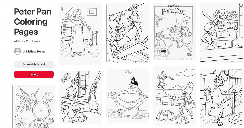 Peter Pan Coloring on Pinterest