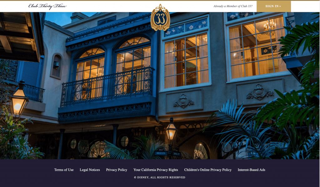 Disney's Club 33 Homepage
