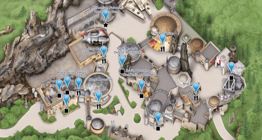 Star Wars: Galaxy's Edge Guide Map Zoom View
