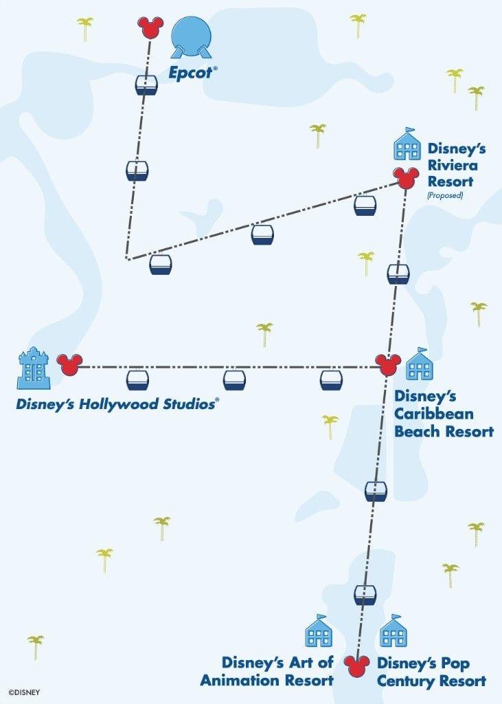 Walt Disney World Skyliner Gondolas Map