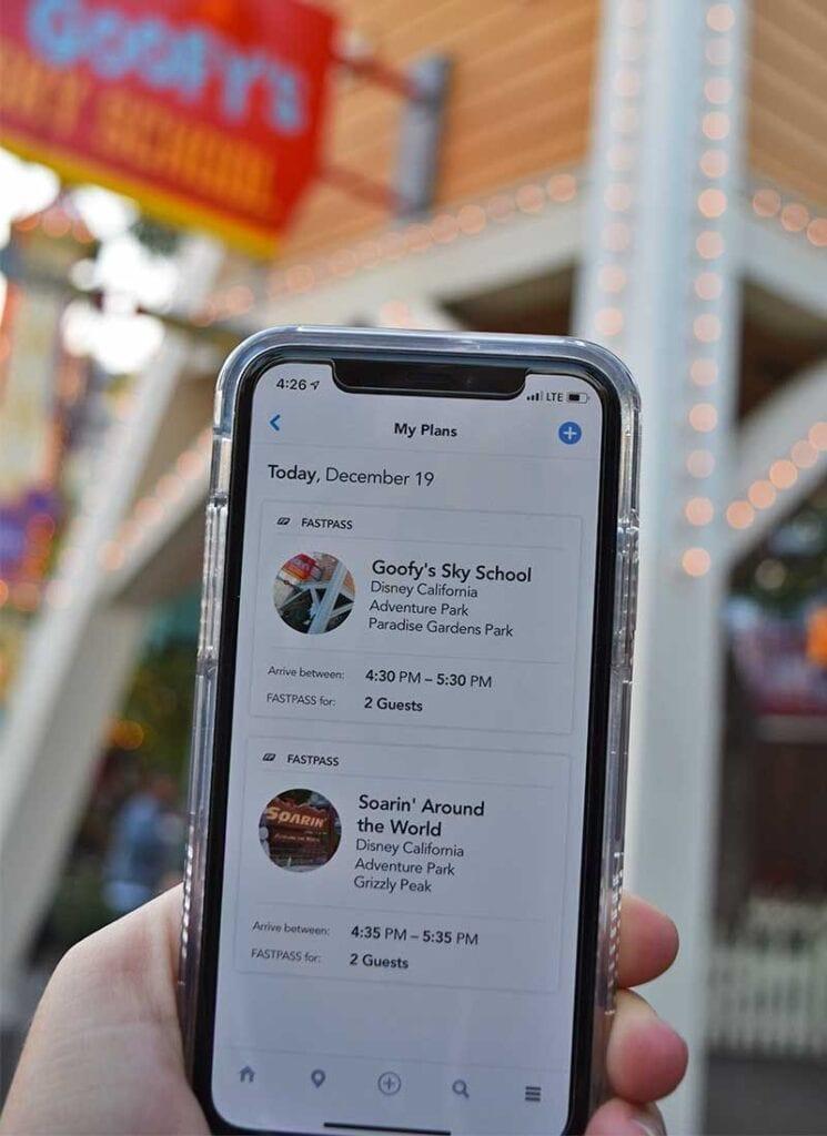 Disney MaxPass FASTPASS Reservations View in Disneyland App [Source: Undercover Tourist]