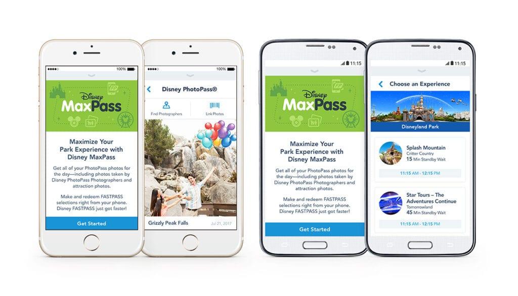 Disney MaxPass iPhone and Android Disneyland App Screenshots [Source: Disneyland]