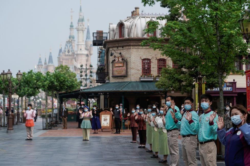 Employees Wearing Masks at Shanghai Disneyland [Source: BBC]