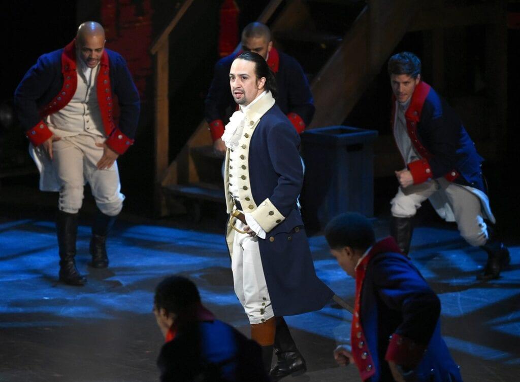 "Lin-Manuel Miranda and the cast of ""Hamilton"" perform at the Tony Awards in New York on June 12, 2016. [Source: NBC News]"