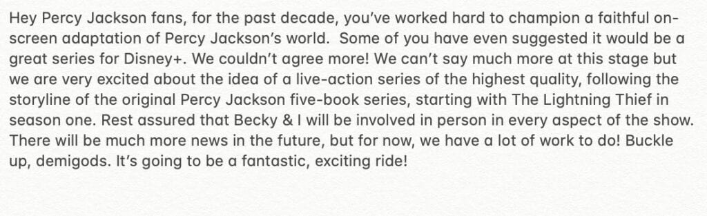 A screenshot of Riordan's tweet about Percy Jackson Coming on Disney Plus [Source: Rick Riordan's Official Twitter Account]