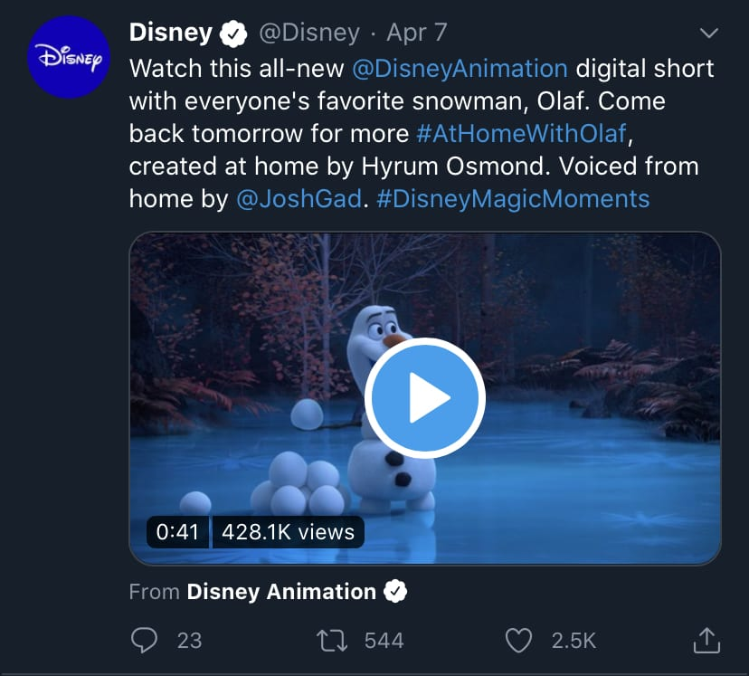 Disney's At Home with Olaf Announcement [Source: Disney's Official Twitter Account]