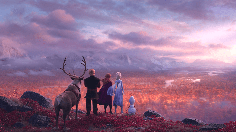 Sven, Kristoff, Anna, Elsa, and Olaf Looking at the Horizon [Source: Disney]