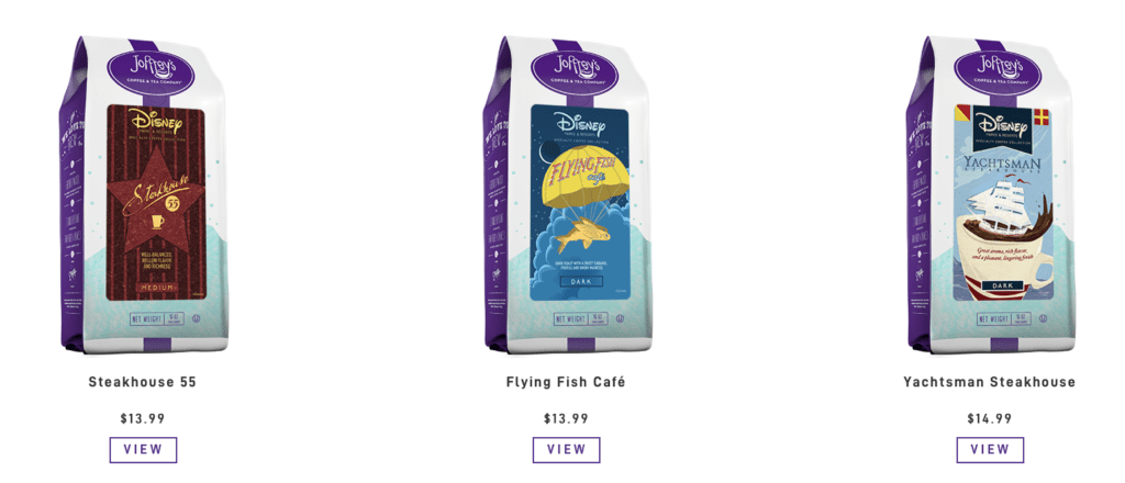 Disney coffee subscription blends available from Joffrey's Coffee & Tea [Source: Joffrey's]
