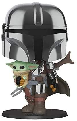 "10"" chrome Mandalorian with Baby Yoda (The Child) for pre-order [Source: Funko via Amazon]"