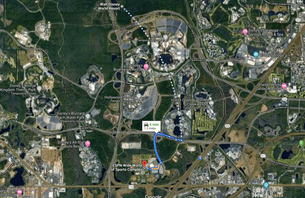 The Distance from the Sports Complex to Disney World [Source: Google Maps]