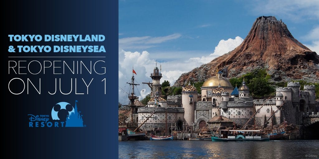 Tokyo Disneyland and DisneySea Reopening Dates Graphic [Source: Disney]