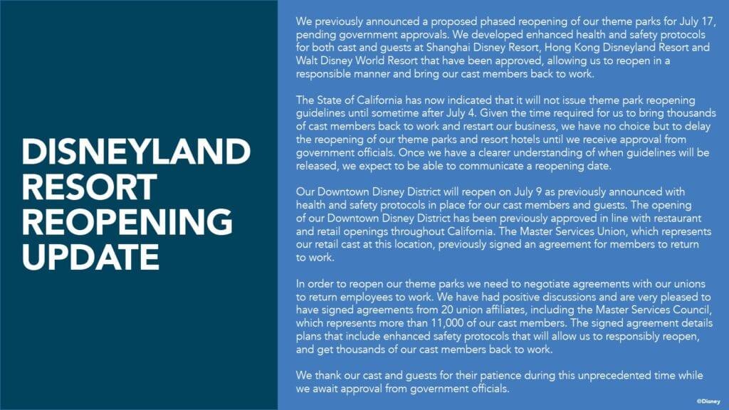 Disneyland Officially Postpones Reopening [Source: Disney]