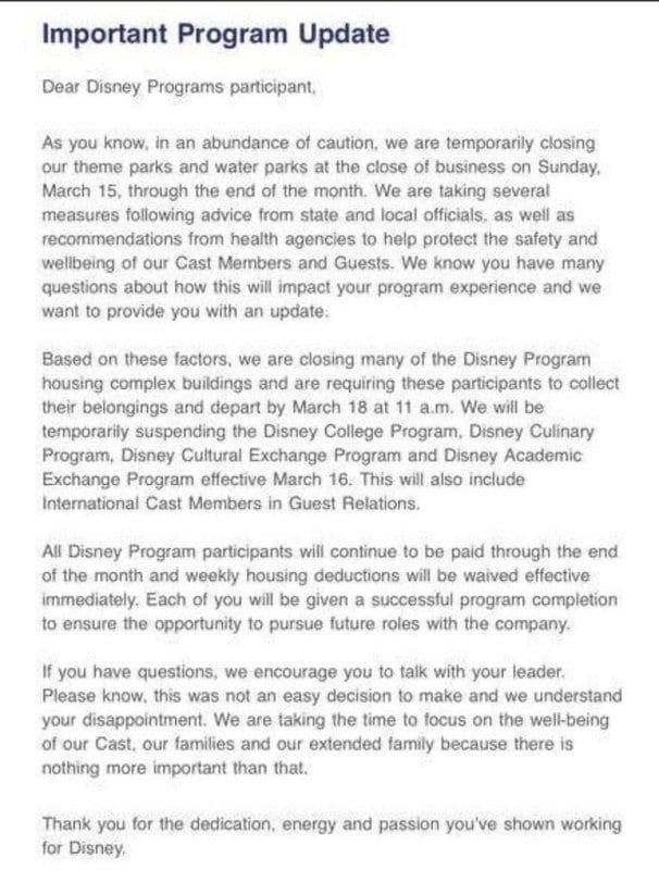 Disney Programs' Letter to Participants [Source: WDW Info]