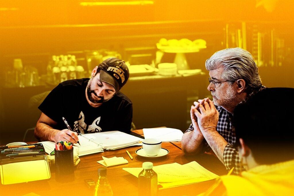 Dave Filoni and George Lucas [Source: Lucasfilm via Vanity Fair]
