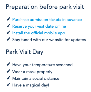 Hong Kong Disneyland Reopening Preparation Checklist [Source: Hong Kong Disneyland]