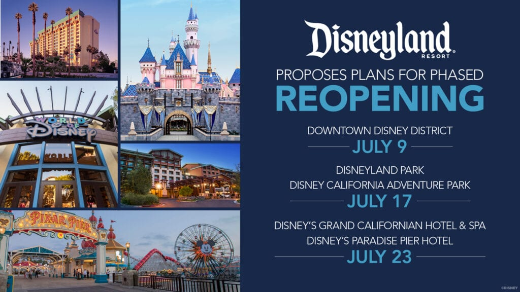 Disneyland Reopening Dates Graphic [Source: Disney]