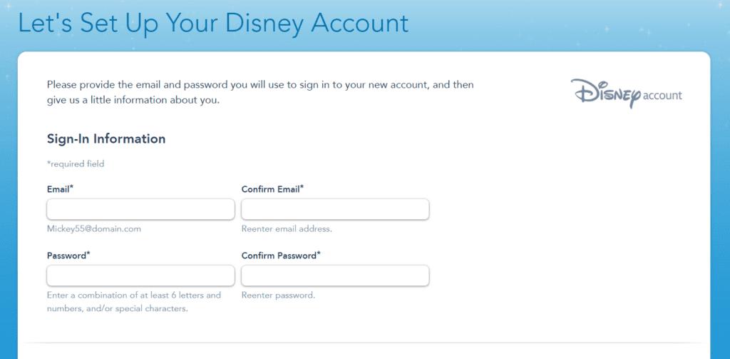 Setting Up A Disney Account