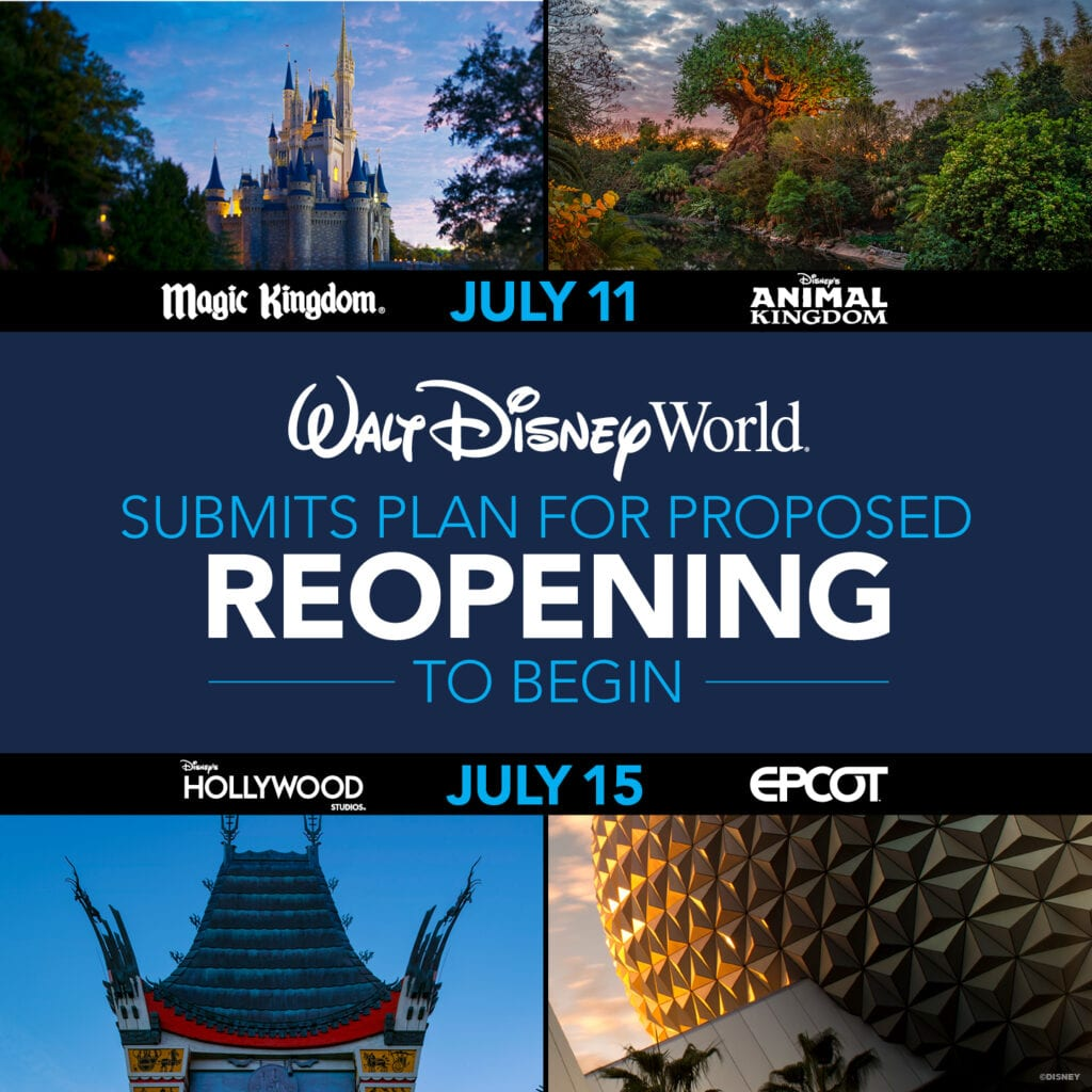 Disney World Reopening Dates Graphic [Source: Disney]