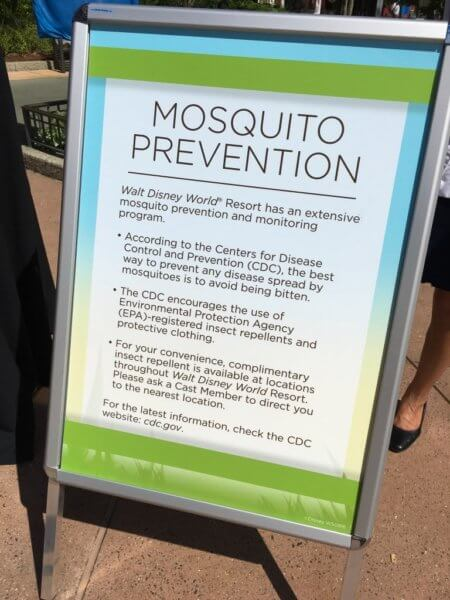 Walt Disney World Resort Mosquito Prevention Signage [Source: Inside the Magic]