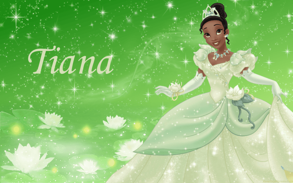 Princess Tiana Wearing a Green Gown [Source: Wallpaper Cave]
