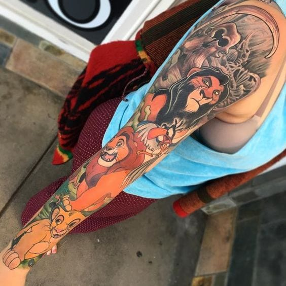 Lion King Sleeve Tattoos [Source: Ink Profy]