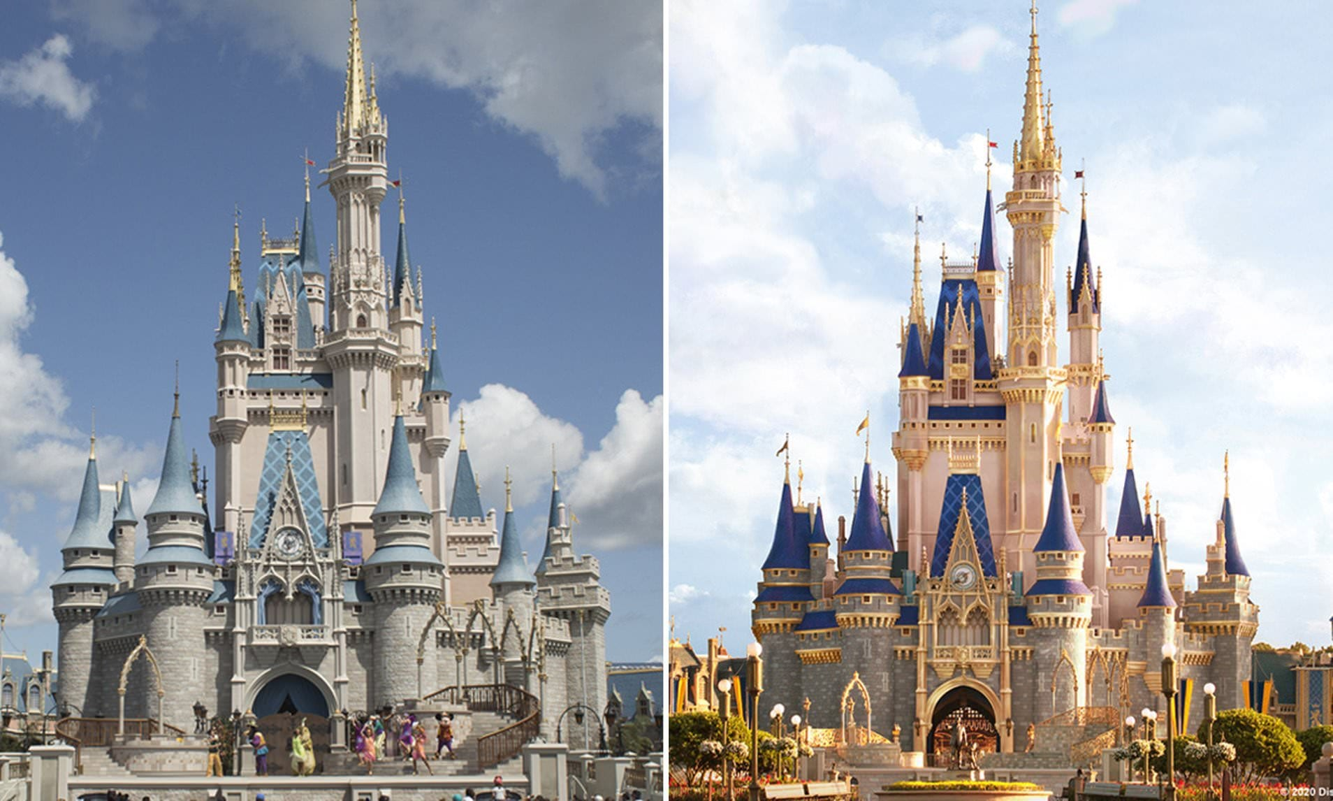 The New Disney World Castle Makeover Pink Paint