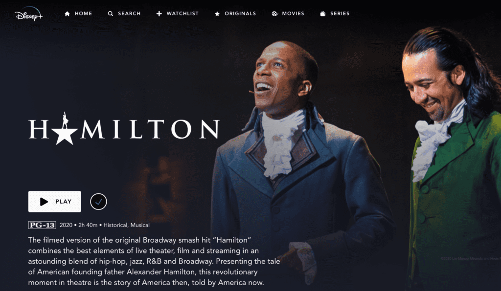 The Cast of Hamilton on Disney Plus [Source: Disney+]