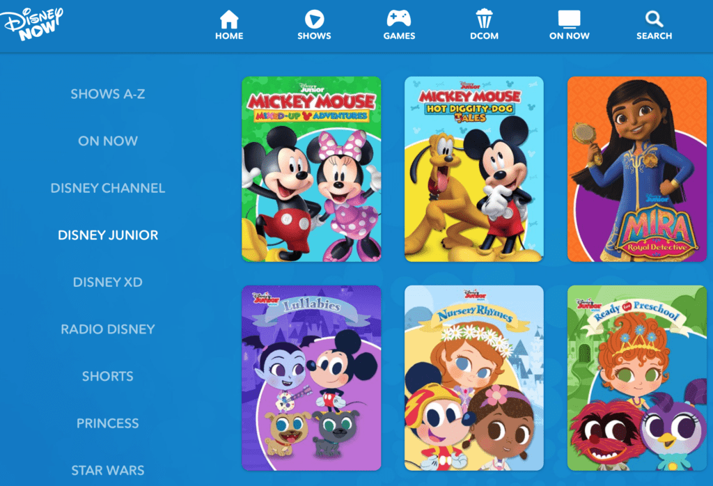 Disney Junior on DisneyNOW [Source: Disney via YouTube]