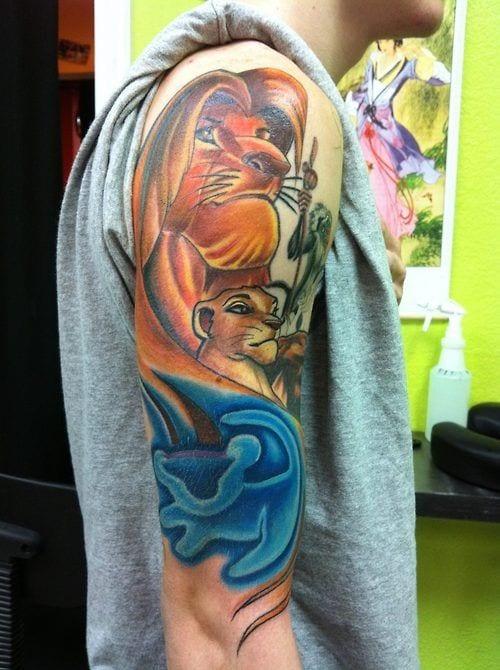 Lion King Sleeve Tattoo [Source: Tattoo Ideas Center]