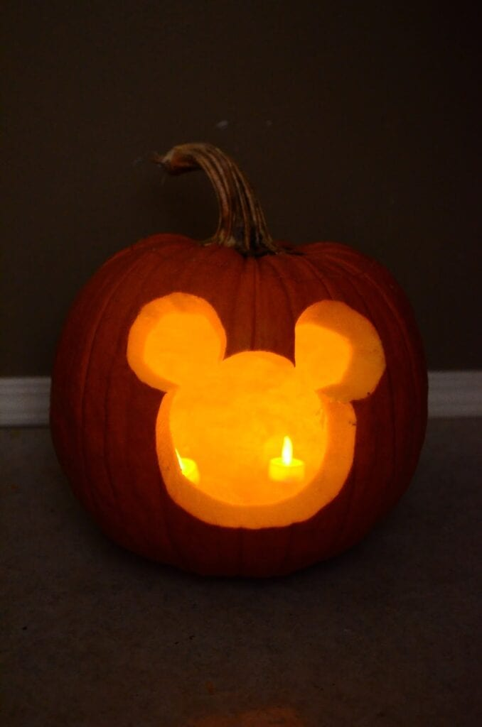 Mickey Mouse Carving Halloween Pumpkins [Source: Johnson Family Blog]
