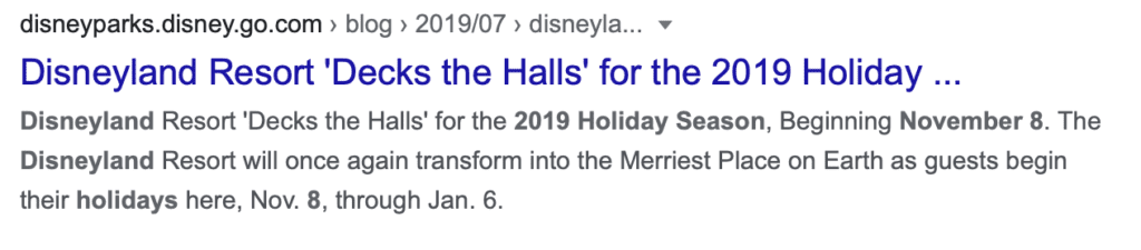 A Google Snapshot of Disneyland Holidays and Christmas Dates from 2019 [Source: Google]