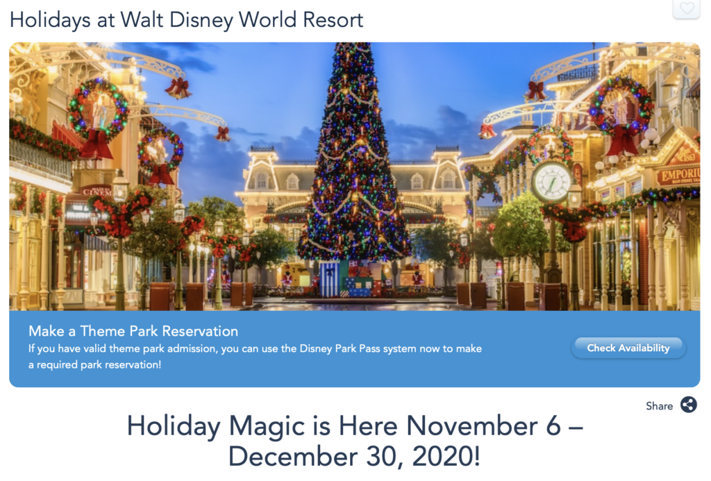Walt Disney World Holiday Season 2020 [Source: Walt Disney World]
