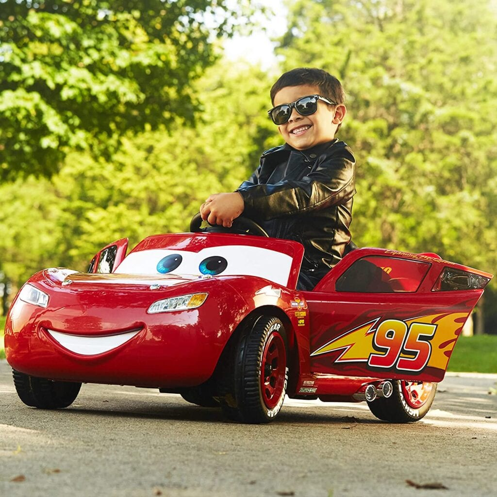 Disney Pixar Cars 3 Lightning McQueen 6V Battery-Powered Ride On by Huffy! [Source: Amazon]