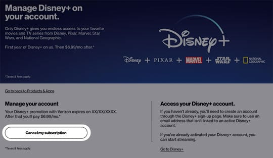How to Cancel Disney+ Through Verizon [Source: Verizon]