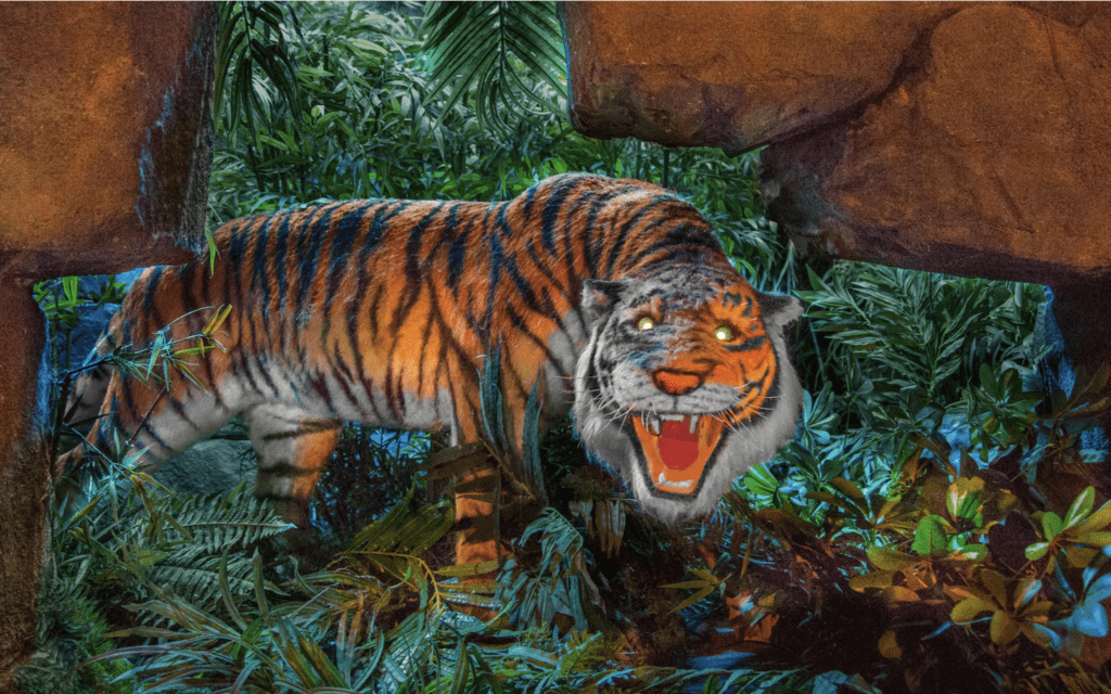 An Audio-Animatronic Tiger from the Jungle Cruise Attraction at Magic Kingdom