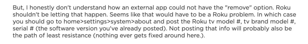 Screenshot on Roku community page reply
