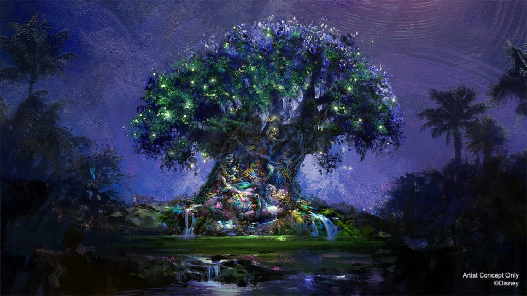 """In this artist rendering, the Tree of Life becomes a Beacon of Magic in Disney's Animal Kingdom Theme Park at Walt Disney World Resort in Lake Buena Vista, Fla. As part of """"The World's Most Magical Celebration"""" honoring Walt Disney World Resort's 50th anniversary beginning Oct. 1, 2021, the tree and other icons at each Walt Disney World theme park will come to life at night with their own EARidescent glow. (Disney)"""