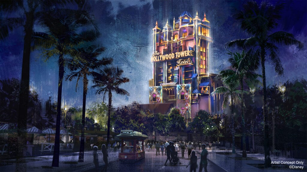 """In this artist rendering, the Hollywood Tower Hotel becomes a Beacon of Magic in Disney's Hollywood Studios at Walt Disney World Resort in Lake Buena Vista, Fla. As part of """"The World's Most Magical Celebration"""" honoring Walt Disney World Resort's 50th anniversary beginning Oct. 1, 2021, the tower and other icons at each Walt Disney World theme park will come to life at night with their own EARidescent glow. (Disney)"""