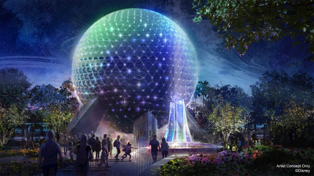 """In this artist rendering, Spaceship Earth becomes a Beacon of Magic in EPCOT at Walt Disney World Resort in Lake Buena Vista, Fla. As part of """"The World's Most Magical Celebration"""" honoring Walt Disney World Resort's 50th anniversary beginning Oct. 1, 2021, Spaceship Earth and other icons at each Walt Disney World theme park will come to life at night with their own EARidescent glow. (Disney)"""