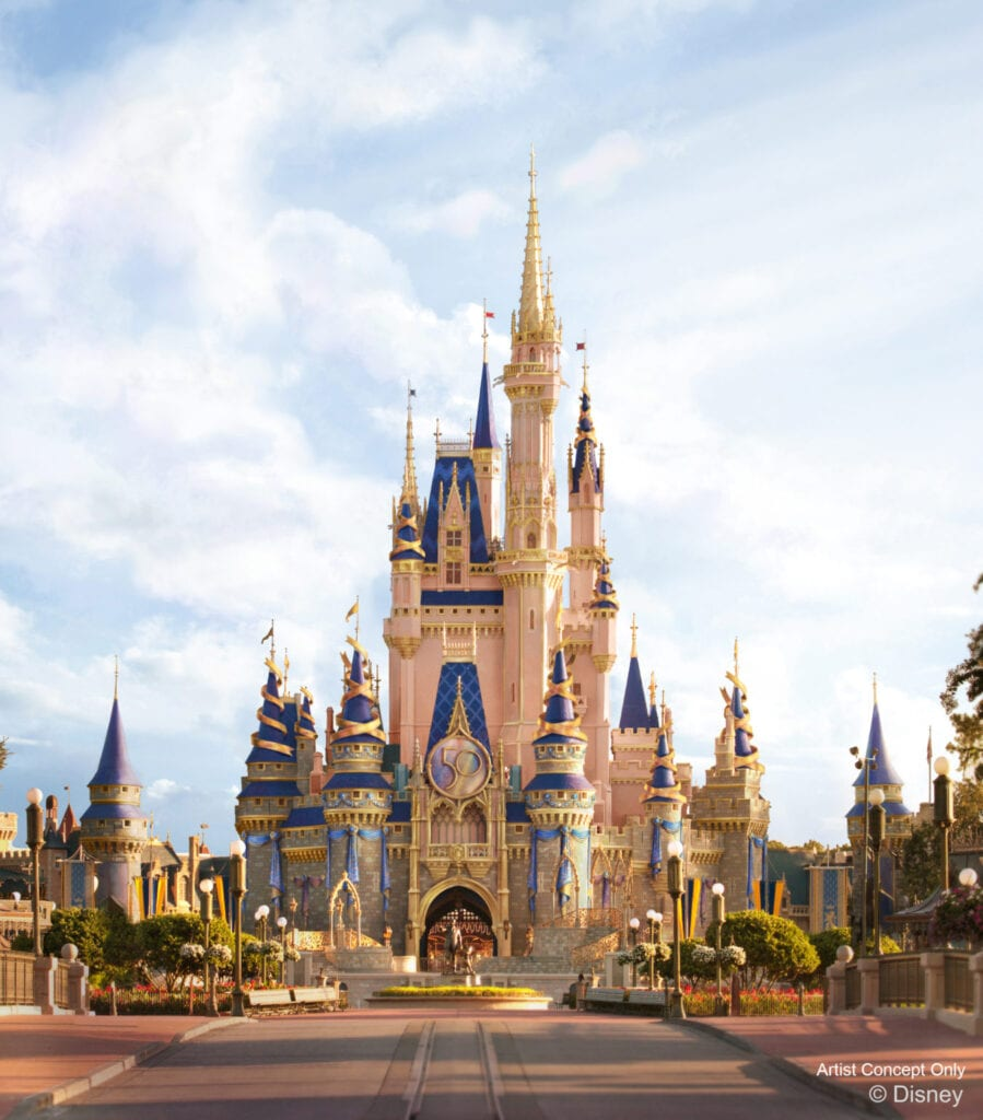 """In this artist rendering, Cinderella Castle shines with new golden and EARidescent décor at Magic Kingdom Park as part of """"The World's Most Magical Celebration,"""" which begins Oct. 1, 2021, in honor of the 50th anniversary of Walt Disney World Resort in Lake Buena Vista, Fla. (Disney)"""