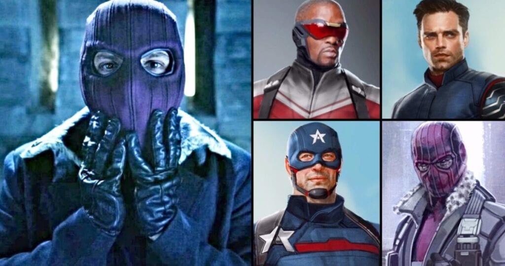 Baron Zemo Mask with Falcon, Captain America, and Bucky Barnes [Source: TVweb]