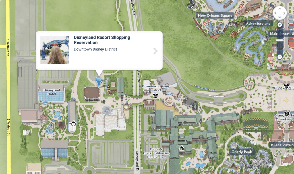 Disneyland Resort Shopping Reservation Map at Downtown Disney District [Source: Disneyland]