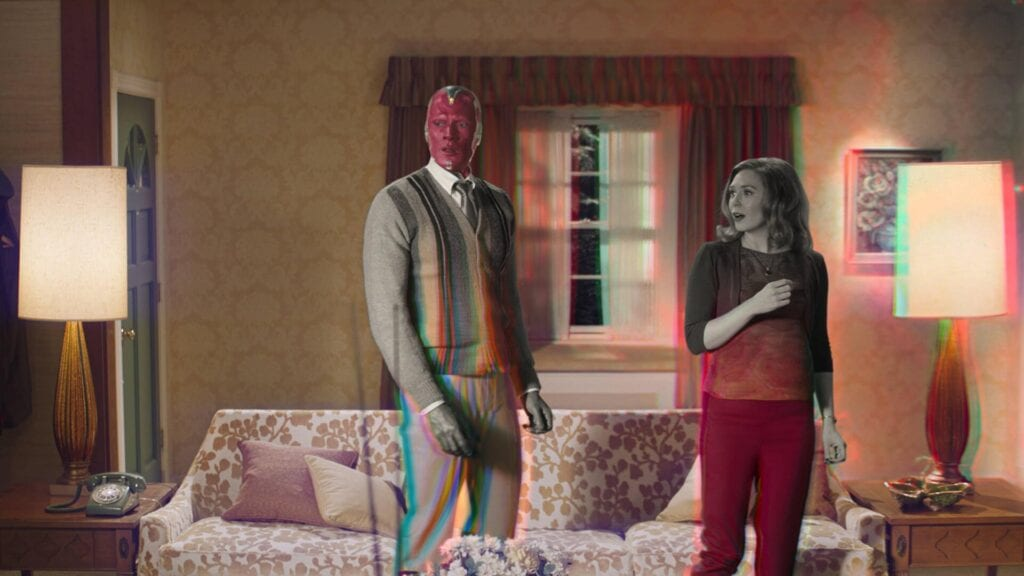 Paul Bettany is Vision and Elizabeth Olsen is Wanda Maximoff in Marvel Studios' WANDAVISION, exclusively on Disney Plus.