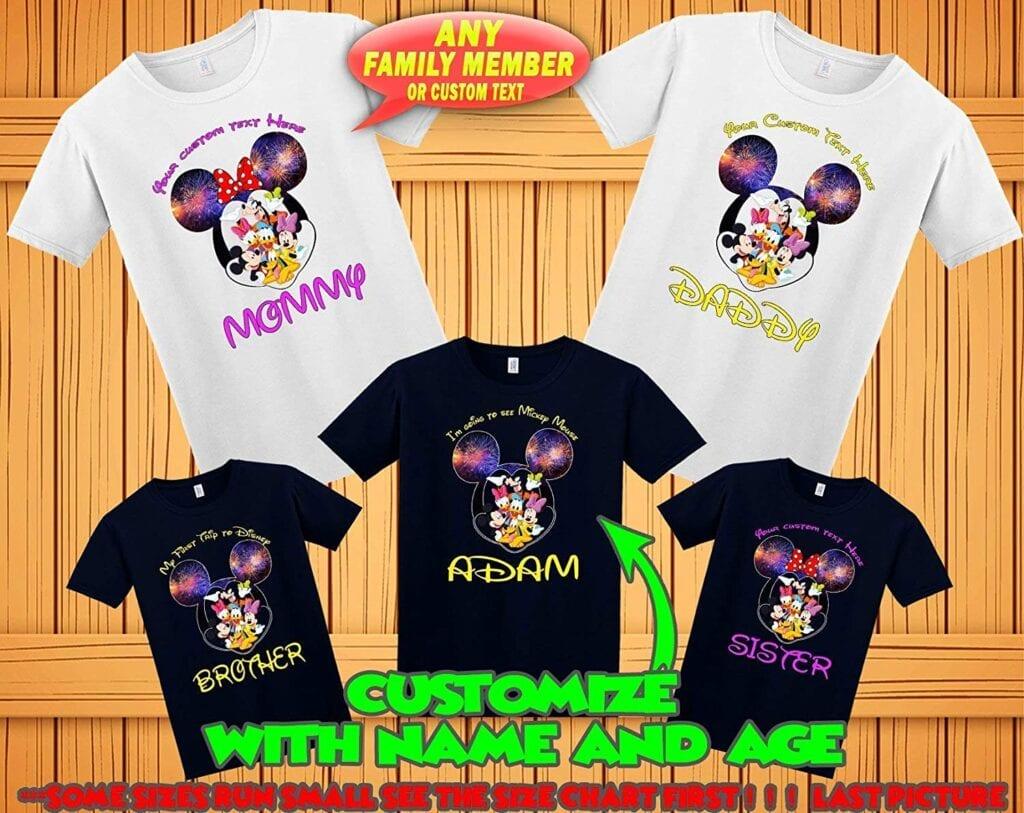 11. Mickey and Friends T-Shirts (Customizable)