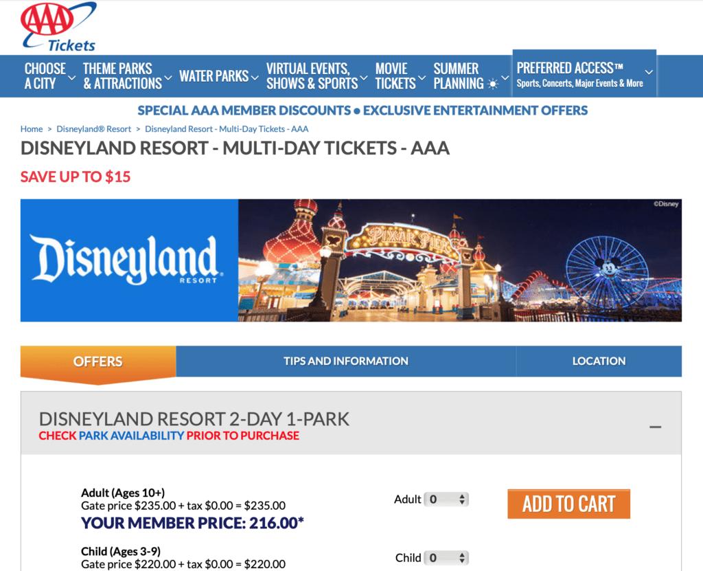 AAA Disneyland Tickets Screenshot from AAA Discounts Page