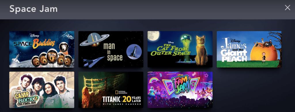 Space Jam is not on Disney Plus [Source: Disney Plus, via screenshot]
